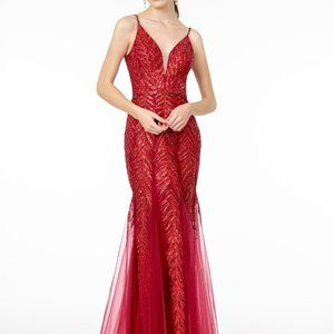 Sequined Illusion V-Neck Evening Dress GSGL2939